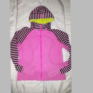 LULULEMON hoodie RARE, Pink+Stripes Size 6
